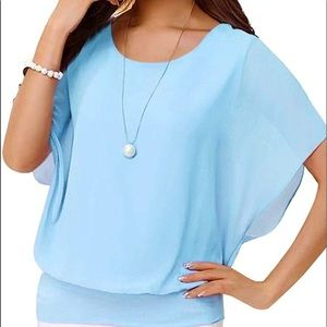 3/$12 Sky Blue Kimono Sleeve Chiffon Blouse Top M
